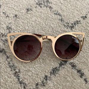 QUAY round cat eye sunglasses - gold